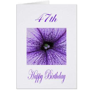 幸せな第47誕生日の紫色の花 カード
