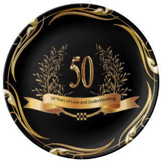 幸せな第50結婚記念日の磁器皿 磁器プレート