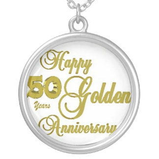 幸せな第50記念日のネックレス シルバープレートネックレス