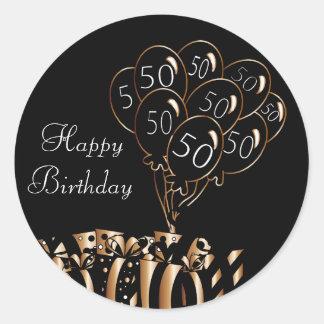 幸せな第50誕生日 の黒い気球 ラウンドシール