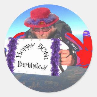 幸せな第50誕生日 ラウンドシール