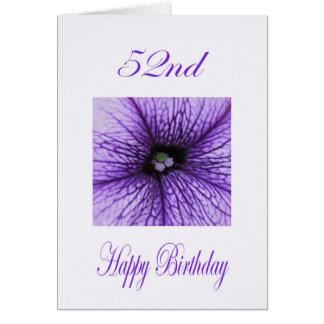 幸せな第52誕生日の紫色の花 カード
