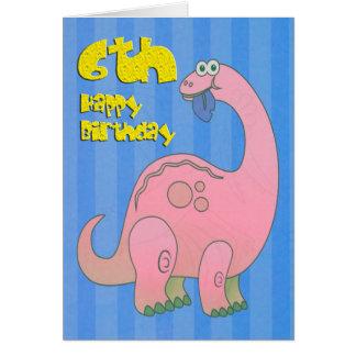 幸せな第6誕生日のピンクの恐竜 グリーティングカード