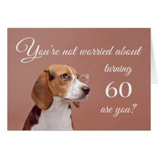 幸せな第60誕生日、心配したビーグル犬 カード