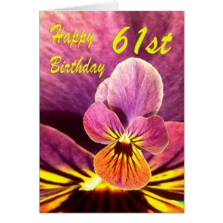 幸せな第61誕生日の花のパンジー カード