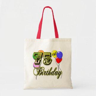 幸せな第75誕生祝いのトートバック トートバッグ