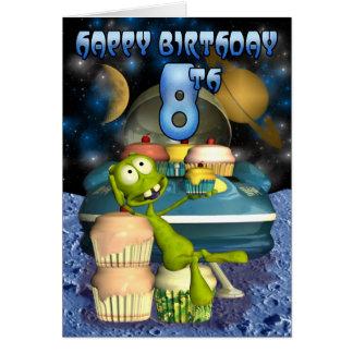 幸せな第8誕生日のPlantetの男の子、Outerspace グリーティングカード
