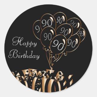 幸せな第90誕生日 ラウンドシール