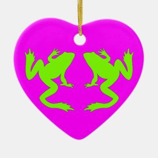 幸せな緑の淡黄緑のカエルのマゼンタのオーナメント セラミックオーナメント