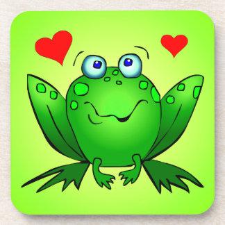 幸せな緑の漫画のカエル愛ハート コースター