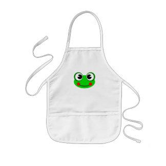 幸せな緑カエル 子供用エプロン