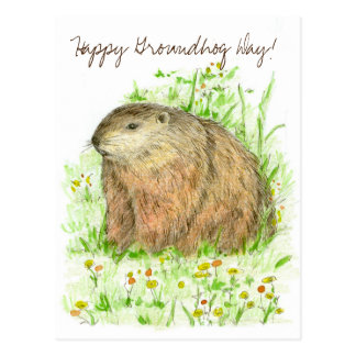 幸せな聖燭節のウッドチャック動物の芸術 ポストカード