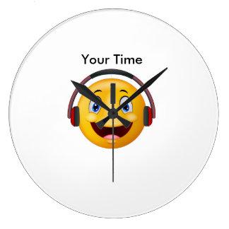 幸せな聞く音楽 ラージ壁時計