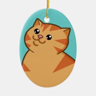 幸せな脂肪質のオレンジ猫の記念品のオーナメント(楕円形) セラミックオーナメント