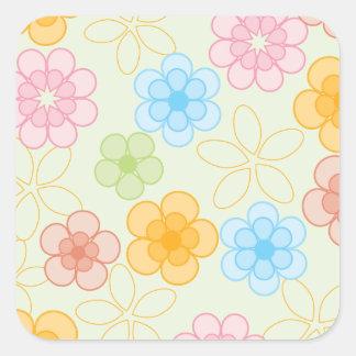 幸せな花模様 スクエアシール