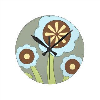 幸せな花 ラウンド壁時計