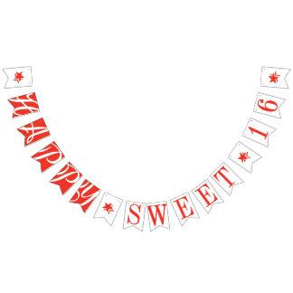 幸せな菓子16の深紅の赤い誕生日の装飾 バンティングフラッグ