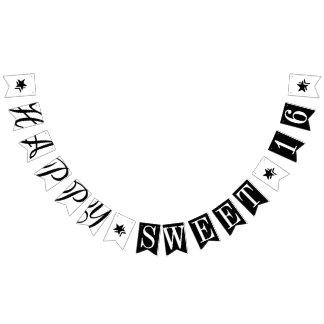 幸せな菓子16の白黒誕生日の装飾 バンティングフラッグ