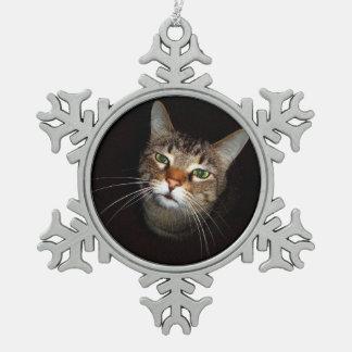 幸せな虎猫Wiskers スノーフレークピューターオーナメント