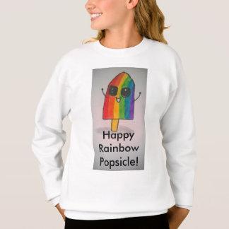 幸せな虹のアイスキャンデーの女の子のスエットシャツ スウェットシャツ