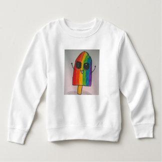 幸せな虹のアイスキャンデーの幼児のフリースのスエットシャツ スウェットシャツ