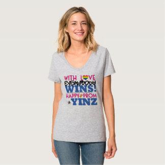 幸せな虹のプロムのYinzのV首のティー Tシャツ