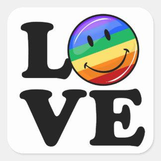 幸せな虹の旗のゲイLGBTとの愛 スクエアシール