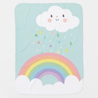 幸せな虹の雲のモダンな子供部屋のパステルの空 ベビー ブランケット