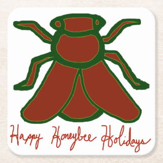 幸せな蜜蜂の休日のコースターセット スクエアペーパーコースター
