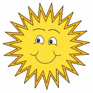 幸せな表面との黄色い夏日曜日 写真彫刻バッジ