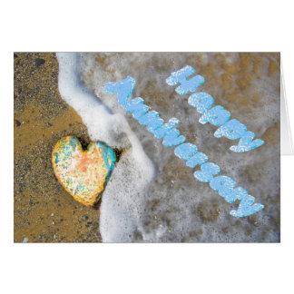幸せな記念日のオパール愛ハート カード