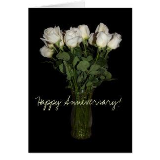 幸せな記念日の白いバラの写真Notecard カード