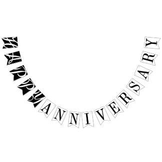 幸せな記念日の白黒装飾 バンティングフラッグ