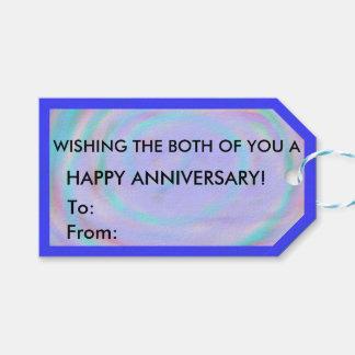幸せな記念日の虹の渦巻のギフトのラベル ギフトタグ
