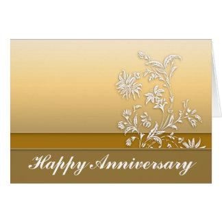 幸せな記念日の金挨拶状 カード