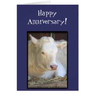 幸せな記念日白い牛挨拶状 グリーティングカード