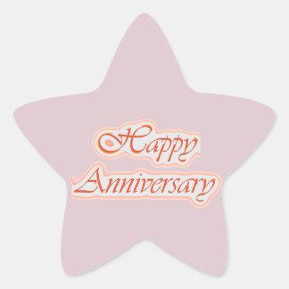 幸せな記念日: エレガントな文字の背景色 星シール