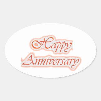 幸せな記念日: エレガントな文字の背景色 楕円形シール