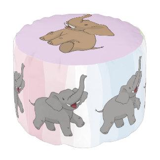 幸せな象のラウンドパフ プーフ