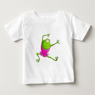 幸せな跳躍のバレエのカエル ベビーTシャツ
