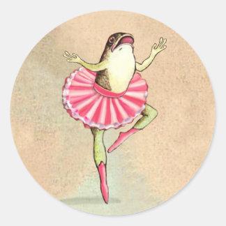 幸せな踊りのバレリーナのカエルのステッカー ラウンドシール