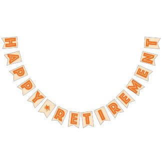幸せな退職の旗、オレンジ色 バンティングフラッグ