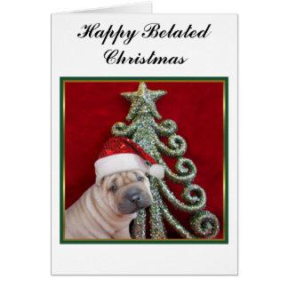 幸せな遅れてクリスマスの中国のなshar peiの子犬 カード