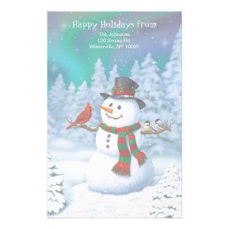 幸せな雪だるまおよび冬の鳥 便箋