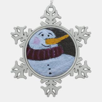 幸せな雪だるまのピューターの雪片の装飾 スノーフレークピューターオーナメント