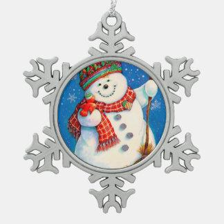 幸せな雪だるま スノーフレークピューターオーナメント