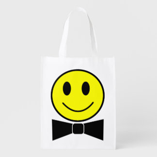 幸せな顔のちょうネクタイのエコバッグ エコバッグ