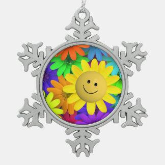 幸せな顔の花 スノーフレークピューターオーナメント