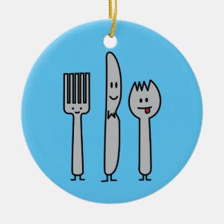 幸せな食事用器具類の道具フォークのナイフのSporkのかわいいスプーン セラミックオーナメント