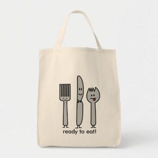 幸せな食事用器具類の道具フォークのナイフのSporkのかわいいスプーン トートバッグ